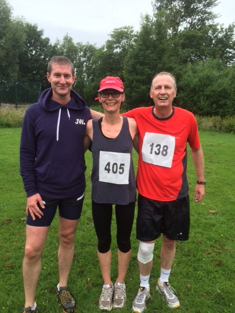 The sponsored runners, Colin Hays, Nadege Fleming and Andrew Leader who took part in the Gibbet Challenge Run on 28th June