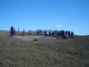Some of the nearly 100 visitors to the Roman Villa site on Sunday